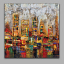 cheap Cake Toppers-Abstract Modern Architecture Handmade IARTS Oil Painting Stretchered