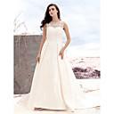 זול מתנות לחתונה-גזרת A סקופ צוואר שובל קורט סאטן / טול שמלות חתונה עם אפליקציות / כפתור על ידי LAN TING BRIDE® / שקוף
