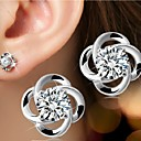 cheap Jewelry Sets-Women's Stud Earrings - Sterling Silver, Silver Flower Simple Style, Birthstones, Bridal For Wedding Party Daily