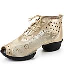 baratos Tênis de Dança-Mulheres Tênis de Dança Renda / Couro Sandália / Meia Solas Cadarço Salto Baixo Não Personalizável Sapatos de Dança Preto / Prateado /