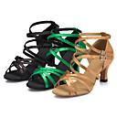cheap Latin Shoes-Women's Latin Shoes / Salsa Shoes / Samba Shoes Satin Sandal / Heel Buckle Customized Heel Customizable Dance Shoes Black / Yellow / Green / Indoor / Performance / Practice / Professional