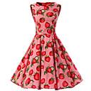 baratos Sapatilhas de Balé-Mulheres Para Noite Vintage Algodão balanço Vestido Fruta Altura dos Joelhos