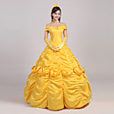 cheap Movie & TV Theme Costumes-Princess Fairytale Dress Cosplay Costume Women's Girls' Movie Cosplay Yellow Headpiece Gloves Petticoat Christmas Halloween New Year Satin