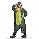 Pijamas Kigurumi Dinosaurio Pijamas de una pieza Disfraz Lana Polar Verde Cosplay por Adulto Ropa de Noche de los Animales Dibujos