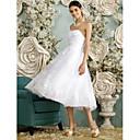 זול קופסאות טלוויזיה-גזרת A לב (סוויטהארט) באורך הקרסול טול שמלות חתונה עם חרוזים / אפליקציות / כפתור על ידי LAN TING BRIDE® / שמלות לבנות קטנות