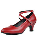 billige Moderne sko-Dame Sko til latindans / Moderne sko Lær Høye hæler Spenne Tykk hæl Kan ikke spesialtilpasses Dansesko Svart / Rød / Sølv