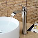 hesapli Banyo Lavabosu Muslukları-Banyo Lavabo Bataryası - Şelale Fırçalanmış Nikel Lavabo Teknesi Tek Kolu Bir Delik