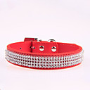 cheap Dog Collars, Harnesses & Leashes-Dog Collar Adjustable / Retractable Rhinestone PU Leather Black Rose Red Blue Pink