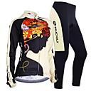 baratos Camisas & Shorts/Calças de Ciclismo-Nuckily Homens Mulheres Manga Longa Calça com Camisa para Ciclismo - Preto Floral / Botânico Geométrico Moto Conjuntos de Roupas,