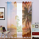 cheap Curtains Drapes-Grommet Top Two Panels Curtain Modern , Print Nature & Landscapes Living Room Polyester Material Sheer Curtains Shades Home Decoration