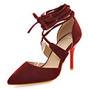 baratos Sapatos de Salto-Mulheres / Para Meninas Sapatos Courino Primavera / Verão Salto Agulha Cadarço / Vazados Preto / Bege / Vermelho / Social