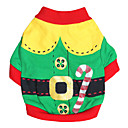 cheap Pet Christmas Costumes-Cat Dog Costume Shirt / T-Shirt Dog Clothes Red Green Cotton Costume For Pets Men's Women's Cosplay Fashion Halloween