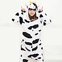 abordables Pyjamas Kigurumi-Déguisement Combinaison Adulte Vache laitière polaire Pyjamas Kigurumi pour Homme et Femme Noir Noël Halloween Carnaval Animal Cosplay Costumes