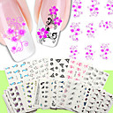 cheap Racks & Holders-nail art water transfer stickers 50 different sheets set flower design nail sticker nude packing