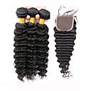 billige Blomstrete dynetrekk-Brasiliansk hår Krøllet Dyp Bølge Ubehandlet hår Hår Veft Med Lukker Hårvever med menneskehår Hairextensions med menneskehår