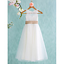 cheap Fans & Parasols-A-Line Tea Length Flower Girl Dress - Lace / Tulle Sleeveless Jewel Neck with Bow(s) / Sash / Ribbon / Pleats by LAN TING BRIDE®