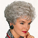 cheap Synthetic Wigs-Synthetic Wig Curly Pixie Cut / With Bangs Synthetic Hair Gray Wig Women's Short Capless