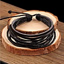 cheap Men's Bracelets-Men's Rivet Braided Charm Bracelet Leather Bracelet - Leather Basic, Simple Style, Fashion Bracelet Black For Christmas Gifts Wedding Party