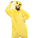 cheap Kigurumi Pajamas-Adults' Kigurumi Pajamas Pika Pika Animal Onesie Pajamas Coral fleece Yellow Cosplay For Men and Women Animal Sleepwear Cartoon Festival / Holiday Costumes