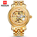 cheap Mechanical Watches-nesun Men's Automatic self-winding Skeleton Watch Hollow Engraving Stainless Steel Band Charm Gold