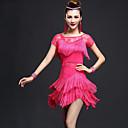 baratos Roupas de Dança Latina-Dança Latina Vestidos Mulheres Espetáculo Fibra Sintética / Náilon Chinês Renda / Mocassim Manga Curta Alto Vestido