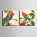 baratos Pinturas Animais-Pintura a Óleo Pintados à mão - Animais Modern / Estilo Europeu Tela de pintura / Lona Laminada