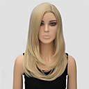 preiswerte Parykopfbedeckungen-Synthetische Perücken Glatt Blond Synthetische Haare Seitenteil Blond Perücke Damen Medium Kappenlos