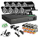 baratos DVD Player para Carros-8ch 960 h rede dvr 8 pcs 1000tvl ir ao ar livre sistema de câmera de segurança cctv