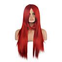abordables Perruques Synthétiques Sans Bonnet-Perruque Synthétique Droit Style Sans bonnet Perruque Rouge Rouge Cheveux Synthétiques Femme Rouge Perruque Long