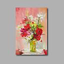 preiswerte Abstrakte Gemälde-Hang-Ölgemälde Handgemalte - Blumenmuster / Botanisch Modern Fügen Innenrahmen / Gestreckte Leinwand
