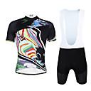 baratos Camisas & Shorts/Calças de Ciclismo-ILPALADINO Homens Manga Curta Camisa com Bermuda Bretelle - Preto Moto Calções Bibes Camisa / Roupas Para Esporte Conjuntos de Roupas,