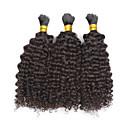 baratos Extensões de Cabelo com Cor Natural-3 pacotes Cabelo Mongol Ondulação Larga / Weave Curly Cabelo Humano Cabelo Humano Ondulado Tramas de cabelo humano Extensões de cabelo humano