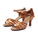 povoljno Cipele za latino plesove-Žene Plesne cipele PU Leather / Saten Cipele za latino plesove / Cipele za salsu Kopča Sandale Potpetica po mjeri Moguće personalizirati Srebrna / Smeđa / Zlatna / Koža / EU40