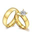 baratos Anéis-Anéis de Casal / Anel de banda - Zircônia Cubica, Aço Titânio Borla, Vintage, Fashion 5 / 6 / 7 Dourado Para Casamento / Festa / Diário