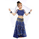 cheap Kids' Dancewear-Belly Dance Outfits Performance Polyester / Chiffon Satin Sequin / Gold Coin Short sleeves Natural Top / Skirt / Belt