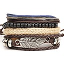 cheap Men's Bracelets-Men's Layered Wrap Bracelet / Leather Bracelet - Leather Wings Personalized, Punk, Multi Layer Bracelet Brown For Christmas Gifts / Daily / Casual