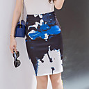 preiswerte Latein Schuhe-Damen Übergrössen Street Schick Ausgehen Baumwolle Bodycon Röcke - Einfarbig Gespleisst / Druck