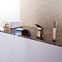 cheap Wall Sconces-Bathtub Faucet - Antique Oil-rubbed Bronze Roman Tub Ceramic Valve / Brass / Single Handle Three Holes
