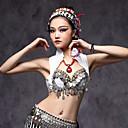 cheap Belly Dancewear-Belly Dance Women's Performance Cotton Polyester Metal Silver Coin Ruffles Sleeveless Top