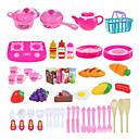 baratos Dinheiro & Banco-Conjuntos Toy Cozinha Aparelhos para cozinhar alimentos para crianças Brinquedos de Faz de Conta Vegetais Fruta Faça Você Mesmo ABS Dom