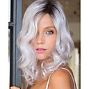 billige Halloweenprodukter-Syntetiske parykker Bølget Grå Syntetisk hår Grå Parykk sølvgrå