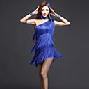 abordables Ropa para Baile Latino-Baile Latino Vestidos Mujer Rendimiento Chinlon Fibra de Leche Cristales / Rhinestones Borla Sin Mangas Cintura Alta Vestido Pulseras