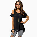 cheap Rings-Women's Plus Size Cotton Loose T-shirt - Solid Colored Tassel Off Shoulder