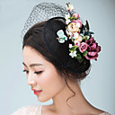 cheap Party Headpieces-Flax / Satin Fascinators / Hats / Headwear with Floral 1pc Wedding / Special Occasion Headpiece
