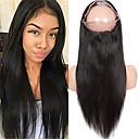 tanie Peruki z włosów ludzkich-Włosy indyjskie 360 Przednie Prosta Z Baby Hair 10-20 in Siateczka szwajcarska Włosy virgin Damskie Naturalna linia włosów / Peruka afroamerykańska / W 100% ręcznie wiązane