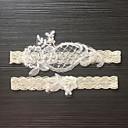 رخيصةأون أربطة الجوارب للأعراس-دانتيل / ستان مطاطي كلاسيكي / موضة الزفاف الرباط مع لؤلؤ تقليد / زهور الأربطة