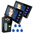 preiswerte Video-Türsprechanlage-ennio Touch-Taste 7 LCD Fingerabdruck-Video-Türsprechanlage Intercom-System wth Zugangskontrolle per Fingerabdruck 1 Kamera 2 Monitor