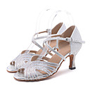 cheap Historical & Vintage Costumes-Women's Latin Shoes / Salsa Shoes Sparkling Glitter Sandal / Heel Rhinestone / Sparkling Glitter / Buckle Flared Heel Customizable Dance Shoes Pink / Golden / Light Green / Performance / Leather