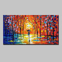 cheap Prints-Oil Painting Hand Painted - Abstract Landscape Abstract Landscape Modern With Stretched Frame / Stretched Canvas