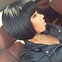 billige Kostymeparykk-Ekte hår Helblonde Parykk Rett Parykk Naturlig hårlinje / Afroamerikansk parykk / 100 % håndknyttet Dame Kort / Medium Blondeparykker med menneskehår